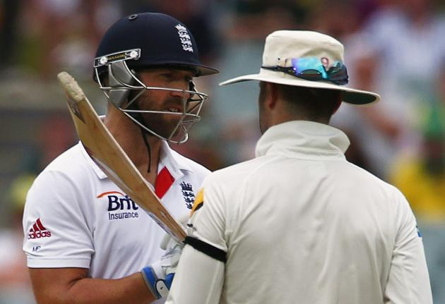 England's Prior argues with Australia's Clarke during fourth day's play in second Ashes cricket test at Adelaide Oval
