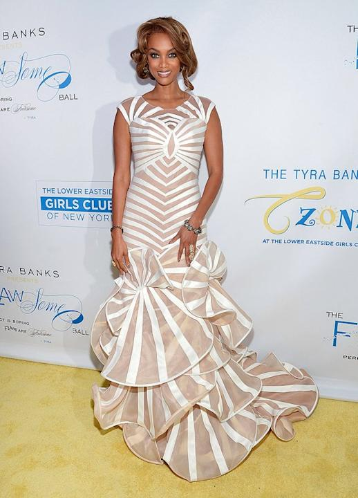 """We love Tyra Banks' dedication to helping young women empower themselves, which she continued to do at Thursday night's Flawsome Ball in NYC. However, we aren't fond of the """"Top Model"""" mastermind's co"""