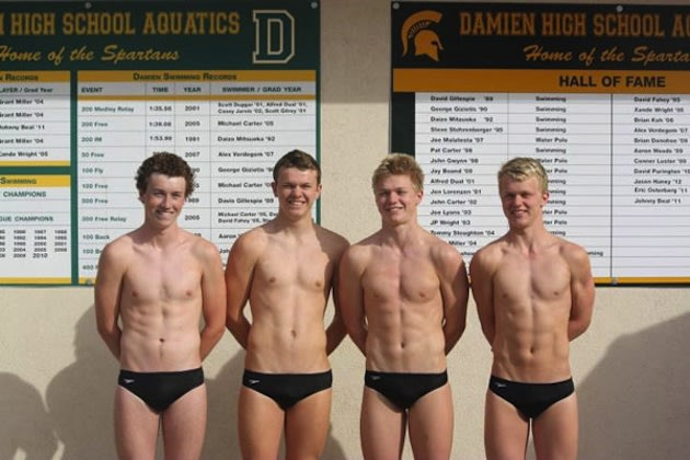 The Forbes brothers of the Damien swimming team — Forbes family photo