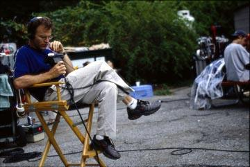 Director Tom McCarthy on the set of The Station Agent
