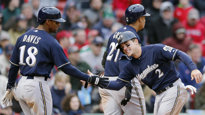 Brewers win 6-2 in Red Sox home opener