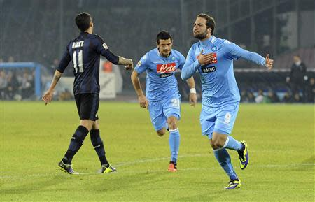 Napoli's Higuain celebrates after scoring against Inter Milan during their Italian Serie A match at San Paolo stadium in Naples