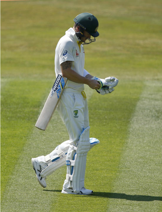 CRIC: Australia's Michael Clarke walks off dejected after being dismissed