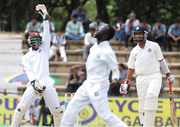West Indies A team players celebrates after the wicket of India A Team, during the unofficial 1st Test Match between India A and West Indies A last day, West Indies a team won by 162 runs at Gangothri
