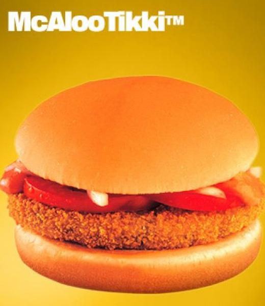 India: Indian McDonald's restaurants do not serve beef and pork products, in deference to Hindu and Islamic beliefs. The only animal products available are jhatka chicken and fish. The veggie burger menu includes the McAloo Tikki Burger, a burger with a patty made out of potatoes, peas, and spices (pictured.) (flicr/McDonald's)