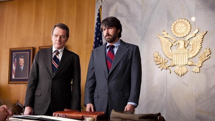 "FILE - This undated publicity film image released by Warner Bros. Pictures shows Bryan Cranston, left, as Jack OíDonnell and Ben Affleck as Tony Mendez in ""Argo,""  a rescue thriller about the 1979 Iranian hostage crisis.  Best-picture prospects for Oscar Nominations on Thursday, Jan. 10, 2013, include, ""Lincoln,"" directed by Steven Spielberg; ""Zero Dark Thirty,"" directed by Kathryn Bigelow; ""Les Miserables,"" directed by Tom Hooper; ""Argo,"" directed by Ben Affleck; ""Django Unchained,"" directed by Quentin Tarantino; and ""Life of Pi,"" directed by Ang Lee.  (AP Photo/Warner Bros., Claire Folger, File)"