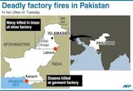 Map locating deadly factory fires in the Pakistan cities of Karachi and Lahore, on Tuesday, which have left scores of people dead