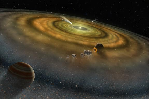 Artist's conception of the view towards the young star Beta Pictoris from the outer edge of its disk. This disk of dust and gas orbiting the star is produced by collisions between and evaporation of asteroids and comets. The star is about 63 li