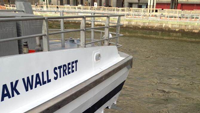 A hole is torn near the bow of the Seastreak Wall Street ferry after it banged into the mooring as it arrived at a pier in New York's financial district Wednesday, Jan. 9, 2013. Police and fire officials say 30 to 50 people were injured when the ferry struck a dock during the morning rush hour. (AP Photo/Larry Neumeister)