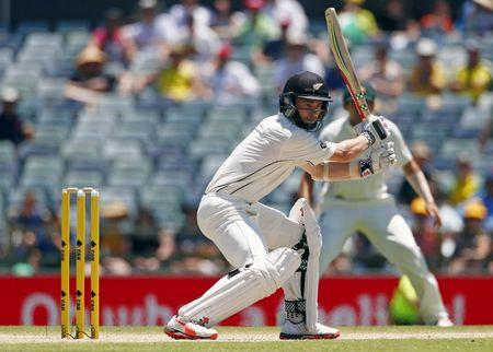 New Zealand's Kane Williamson hits a boundary during the third day of the second cricket test match against Australia at the WACA ground in Perth, Western Australia