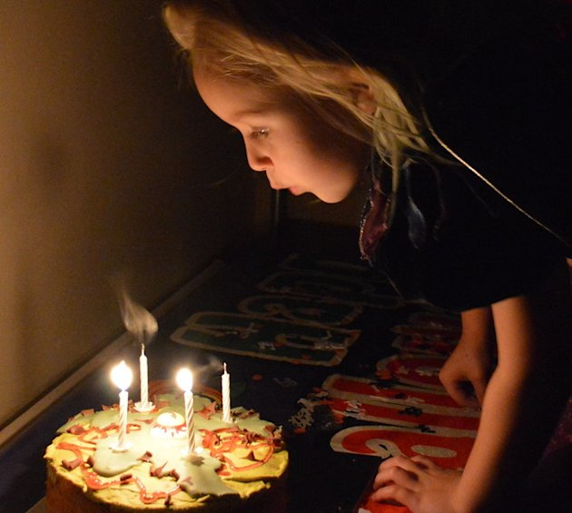 Blowing out the candles