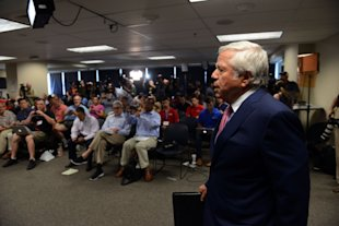 Robert Kraft prepares to speak at a press conference at Gillette Stadium. (Getty Images)