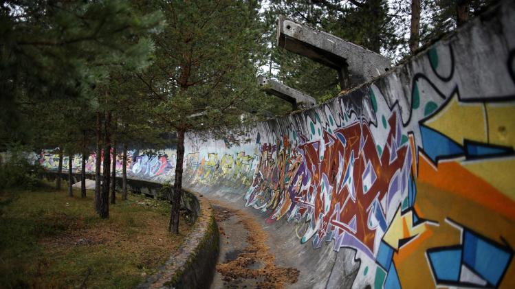 The disused bobsleigh track from the Sarajevo 1984 Winter Olympics is seen on Mount Trebevic, near Sarajevo