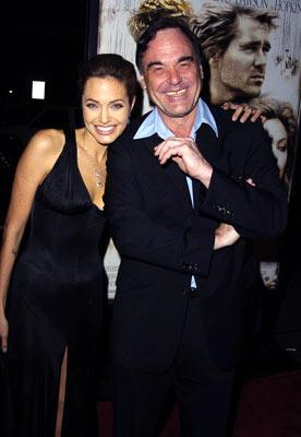 Angelina Jolie and director Oliver Stone at the Hollywood premiere of Warner Bros. Alexander