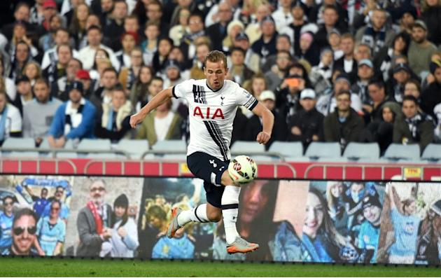 Tottenham Hotspur forward Harry Kane makes a run for it during the match against Sydney FC on May 30, 2015 in Sydney
