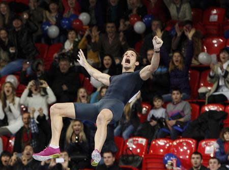Lavillenie of France sets a pole vault indoor world record at the Pole Vault Stars meeting in Donetsk