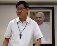 Manila Archbishop Luis Antonio Cardinal Tagle, prepares for a simultaneous announcement with the Vatican on the five-day Apostolic visit of Pope Francis to the Philippines in mid-January next year, Tuesday, July 29, 2014 in Manila, Philippines. The Vatican press office said Tuesday that Francis would visit Sri Lanka Jan. 12-15, and spend the remainder of the trip in the Philippines. The full program will be released later. (AP Photo/Bullit Marquez)