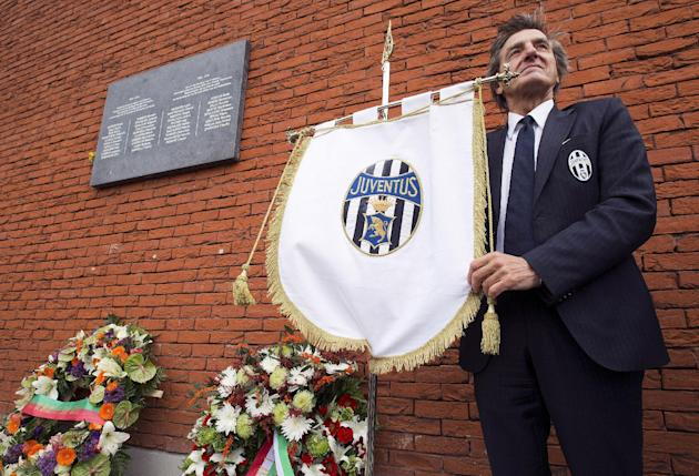 Juventus soccer club fan Isola takes part in a ceremony at the King Baudouin Stadium commemorating the 30th anniversary of the Heysel Stadium disaster in Brussels