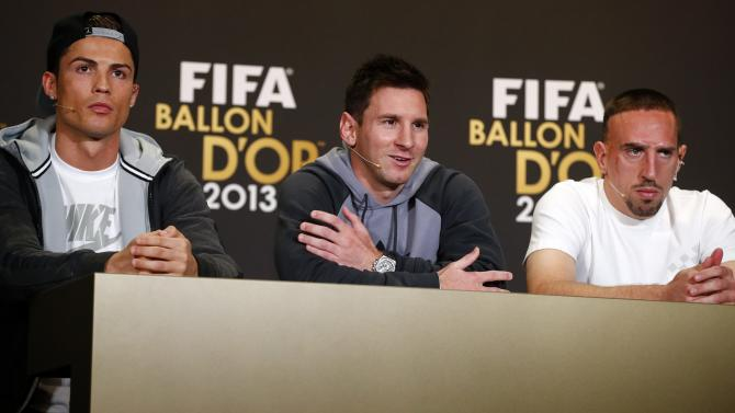 FIFA Men's World Player of the Year 2013 nominees Ronaldo of Portugal, Messi of Argentina and Ribery of France address a news conference ahead of the FIFA Ballon d'Or soccer awards ceremony in Zurich