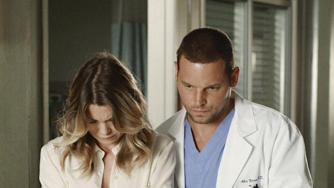 """GREY'S ANATOMY - """"She's Gone"""" - In the second hour, """"She's Gone"""" (10:00-11:00 p.m.), news of Meredith and Derek's unsteady relationship raises a red flag for Zola's adoption counselor; Alex quickly realizes that he has become the outcast of the group after ratting out Meredith; and Cristina makes a tough decision regarding her unexpected pregnancy. Also, Chief Webber brings Henry in for a last minute surgery, alarming Teddy. """"Grey's Anatomy"""" returns for its eighth season with a two-hour event THURSDAY, SEPTEMBER 22 (9:00-11:00 p.m., ET) on the ABC Television Network. (ABC/RON TOM) ELLEN POMPEO, JUSTIN CHAMBERS Grey's Anatomy"""
