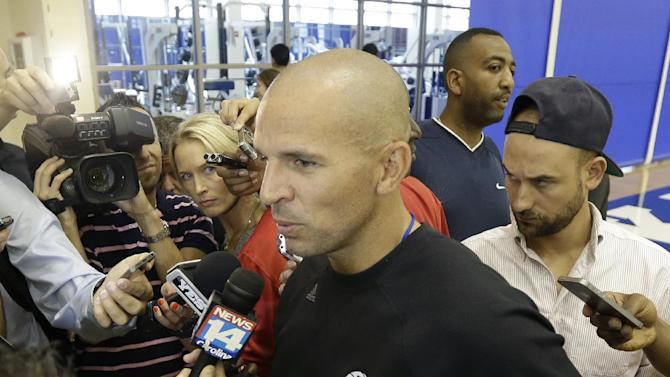 Brooklyn Nets coach Jason Kidd speaks with members of the media at NBA basketball training camp at Duke University in Durham, N.C., Tuesday, Oct. 1, 2013