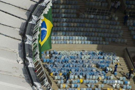 Aerial view of the Maracana stadium with the complete roof, in Rio de Janeiro, Brazil on April 11, 2013