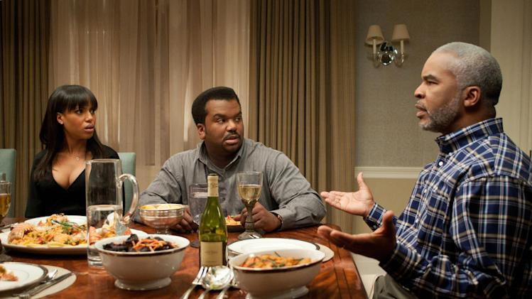 "This undated publicity photo released by Lionsgate shows, from left, Kerry Washington, as Grace Peeples, Craig Robinson as Wade Walker and David Alan Grier as Virgil Peeples in a scene from the film,""Peeples.""  (AP Photo/Lionsgate, Nicole Rivelli)"