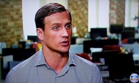 US swimmer Ryan Lochte gives an interview to Globo TV in New York