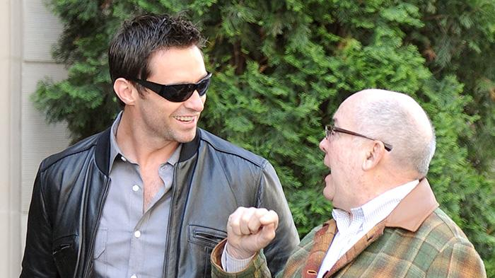EXCLUSIVE: Hugh Jackman and his dad, Chris, take a walk in San Francisco