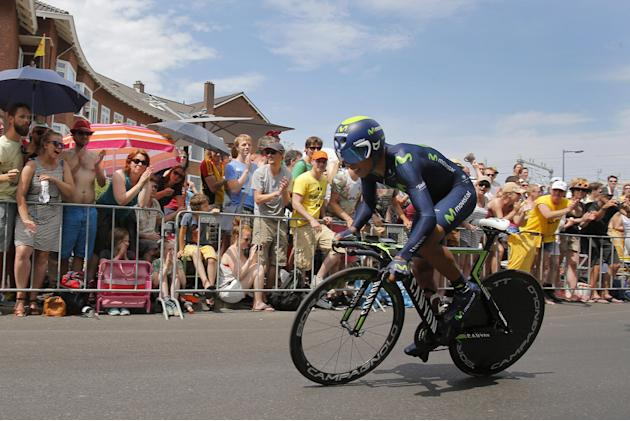 Colombia's Nairo Quintana strains during the first stage of the Tour de France cycling race, an individual time trial over 13.8 kilometers (8.57 miles), with start and Finish in Utrecht, Netherlan