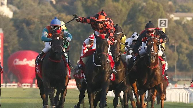 "Jockey Hernan Eduardo Ulloa on ""Rio Allipen"" crosses the finish line to win the 131st running of the Derby horse race at Sporting Club in Vina del Mar city, Chile."