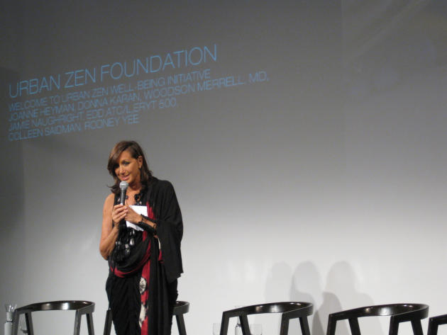 This April 2009 photo provided by Urban Zen shows fashion designer, Donna Karan, speaking at the Urban Zen Nutrition Forum in New York. Karan's husband, Stephan, died in 2001 of lung cancer. It's also