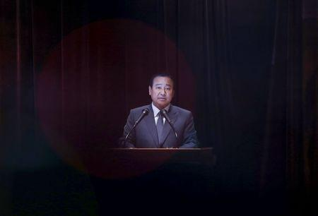 South Korean PM Lee delivers his speech during his departure ceremony at a government complex in Seoul