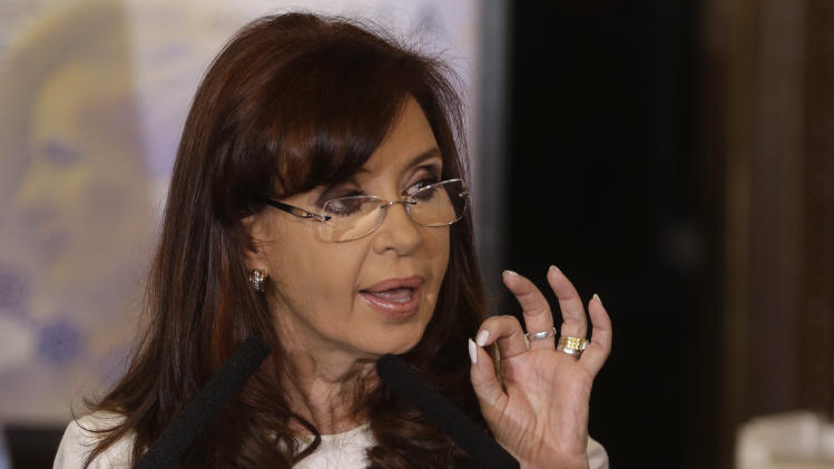 FILE - In this July 31, 2014 file photo, Argentine President Cristina