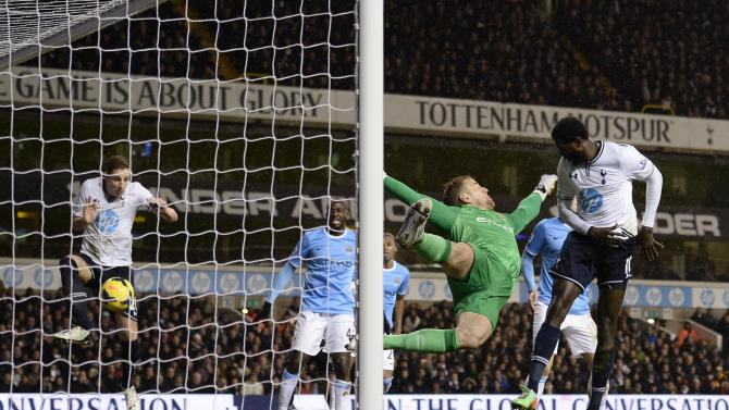 Tottenham Hotspur's Dawson scores a goal later ruled offside during their English Premier League soccer match against Manchester City at White Hart Lane in London