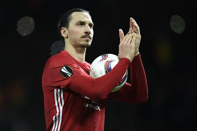Manchester United striker Zlatan Ibrahimovic scored all of United's goals in their 3-0 win at home to French club St Etienne Thursday