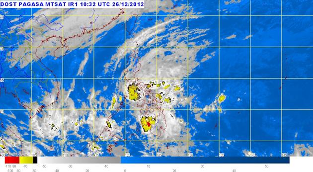 Tropical Depression Quinta continues to move west at 24 kph and will bring rains to Northern Palawan, PAGASA said Wednesday afternoon. (Photo from Pagasa website, 6:30 p.m. Dec. 26, 2012)