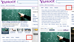 two screenshots of the Yahoo! home page with modules reordered