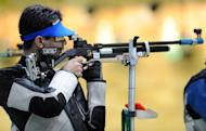 Abhinav Bindra of India, shown at the Commonwealth Games in 2010, crashed out of the London Games on Monday, failing to repeat his feat in Beijing, where he became his country's first individual gold medallist