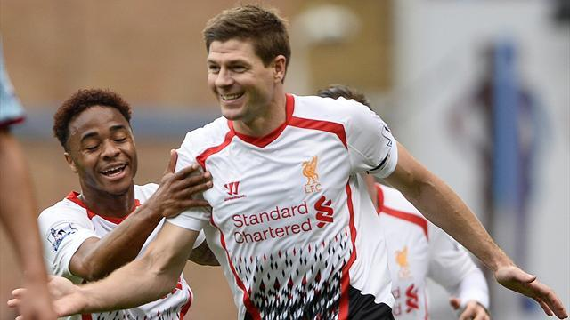 Premier League - Gerrard double fires Liverpool top despite referee errors