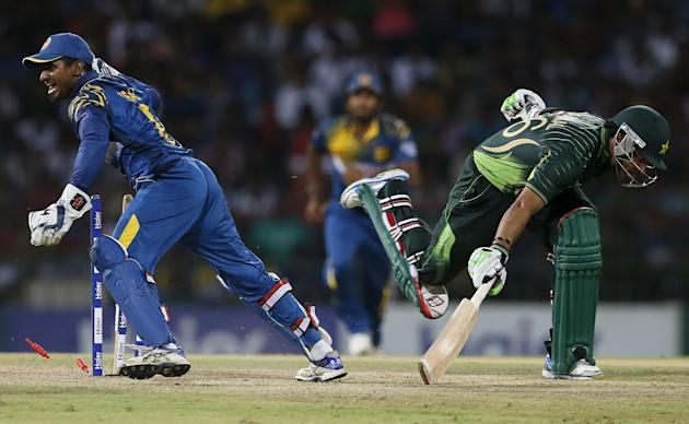 Sri Lanka's wicketkeeper Perera celebrates after taking the wicket of Pakistan's Akmal during their second Twenty20 cricket match in Colombo