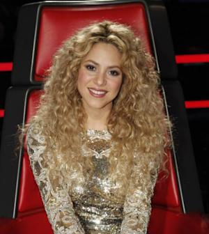 Shakira poses in her big red chair on 'The Voice' finale, June 18, 2013 -- NBC