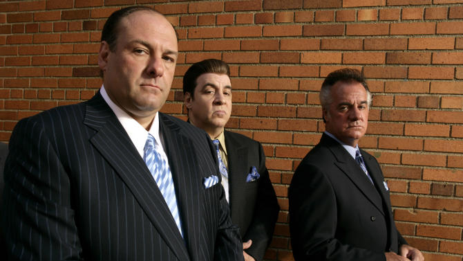 """FILE - This 2007 file photo originally supplied by HBO, shows James Gandolfini, left, Steven Van Zandt and Tony Sirico, right, members of the cast of the HBO cable television mob drama """"The Sopranos."""" HBO and the managers for Gandolfini say the actor died Wednesday, June 19, 2013, in Italy. He was 51. (AP Photo/HBO,Craig Blankenhorn)"""