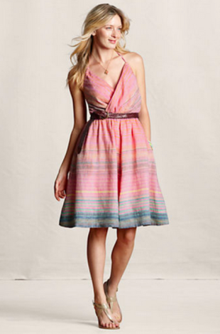 Linen Striped Halter Dress
