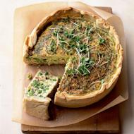 Pancetta, pea, mint and Cheddar deep tin tart