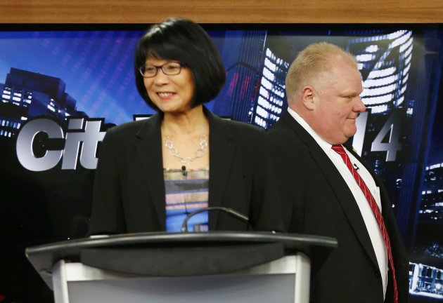 Olivia Chow and Rob Ford ahead of the Toronto Mayoral Candidate's debate on March 26, 2014. (Reuters)