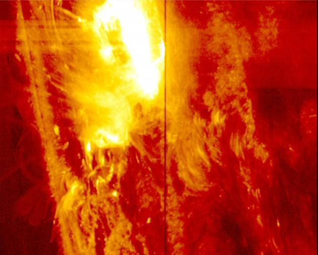 A strong solar flare on the surface of the sun is seen in this image from NASA's Interface Region Imaging Spectrograph