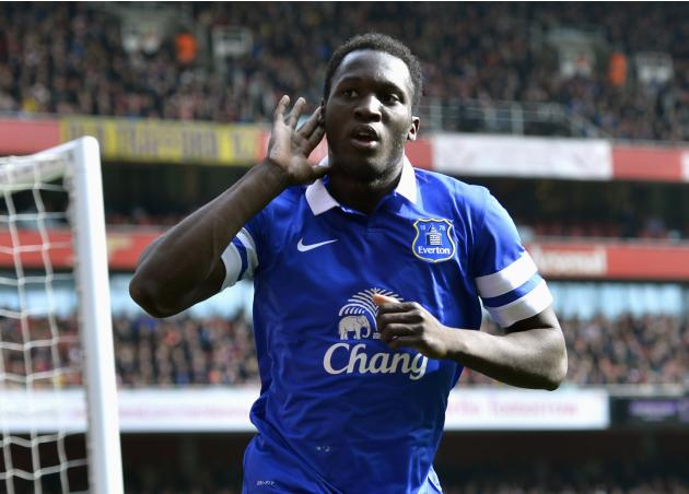 Everton's Lukaku celebrates after scoring a goal against Arsenal during their English FA Cup quarter final soccer match at the Emirates stadium in London