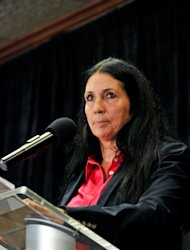 Green Party vice presidential candidate Cheri Honkala delivers her acceptance speech at the Green Party's convention in Baltimore on Saturday, July 14, 2012. (AP Photo/Laura-Chase McGehee)