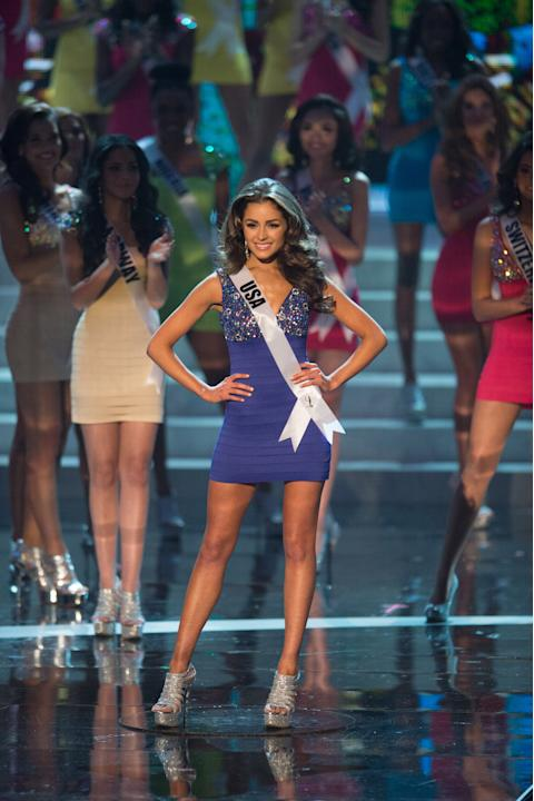 Miss USA 2012, Olivia Culpo, is announced as one of the top sixteen contestants in her Sherri Hill dress and Chinese Laundry shoes during this year's LIVE NBC Telecast of the 2012 Miss Universe Compet